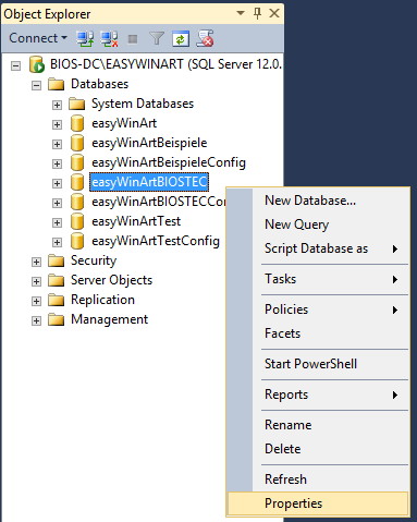 SQL-Log der easyWinArt Datenbanken verkleinern und Größenlimits aktivieren